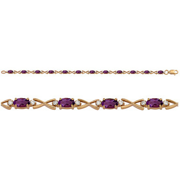 браслет c аметистами из красного золота 1830042359-17 от EVORA