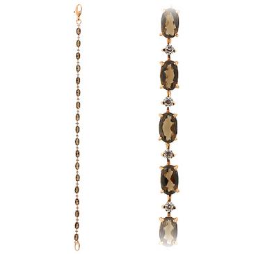 браслет c раухтопазами и фианитами из красного золота 418A3710-18 от EVORA