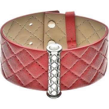 Широкий красный браслет Zeades из кожи с цирконами и вставками из стали ZST01071