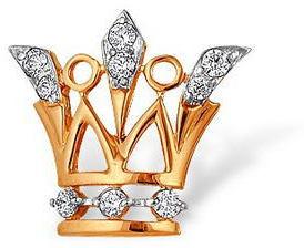 значок Корона из красного золота 12020029