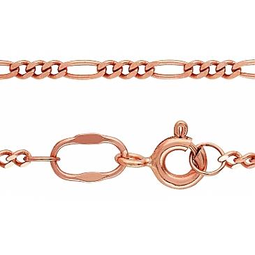 Цепь комбинированное панцирное плетение из красного золота 30545