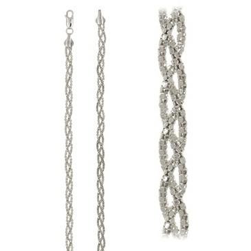 цепь плетение комбинированное из серебра crnflt3iц160