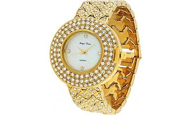Часы кварцевые Magic Time с фианитами и перламутром на золотом ремешке,артикул 85350