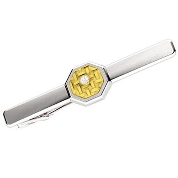 Зажим 'ВОСЬМИГРАННИК' из желтого золота З-34008 от EVORA