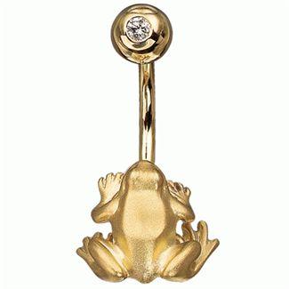 """пирсинг """"Царевна-лягушка"""" из желтого золота Пр-41031 от EVORA"""