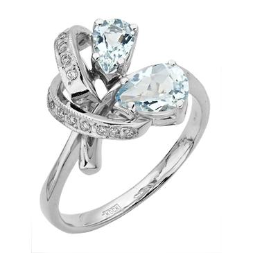кольцо c аквамаринами из белого золота 13052459