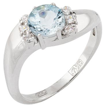 кольцо c аквамарином и фианитами из белого золота 13067435