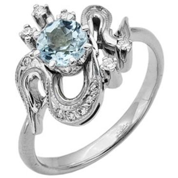 кольцо c аквамарином из белого золота 13053033