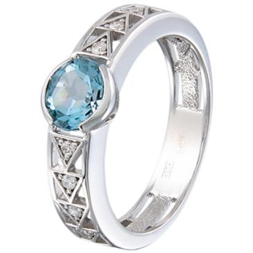 кольцо c аквамарином из белого золота 13057417