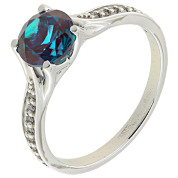кольцо c александритом из белого золота 13267831