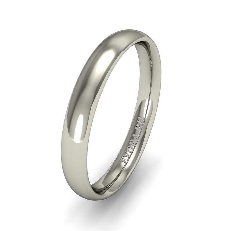 Кольцо обручальное классическое 750 пробы шириной 3 мм. из белого золота W637W