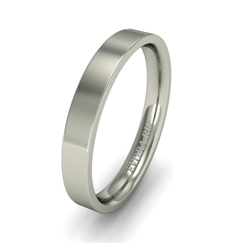 Кольцо обручальное классическое 750 пробы шириной 3 мм. из белого золота W737W