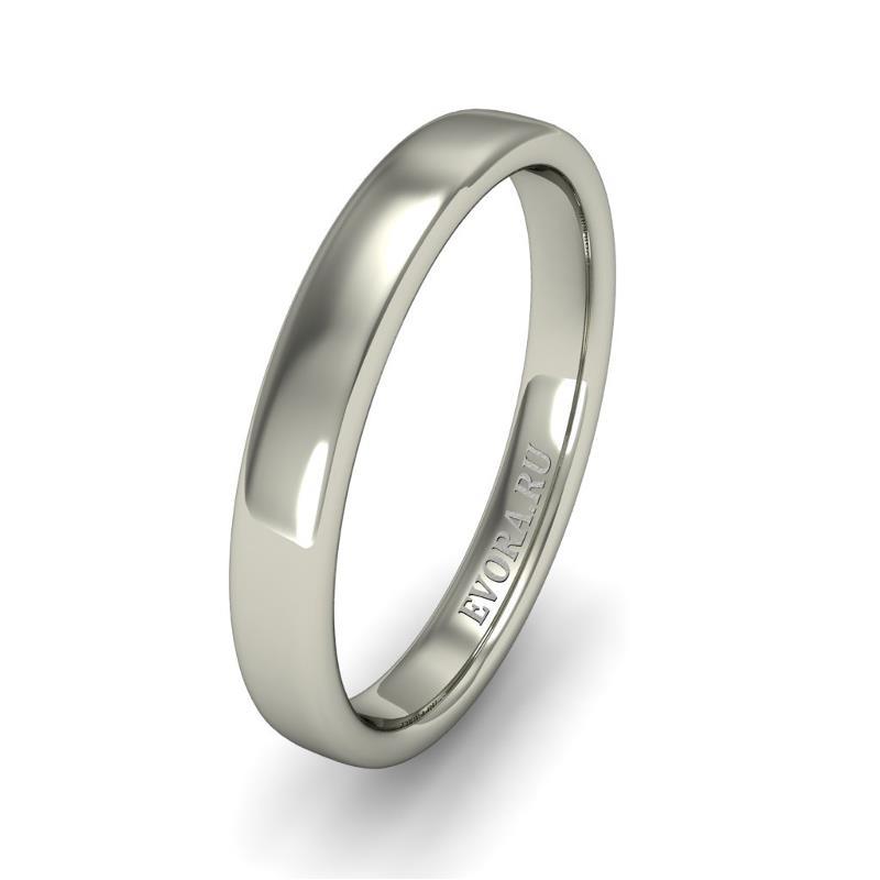Кольцо обручальное классическое 750 пробы шириной 3 мм из белого золота W337W