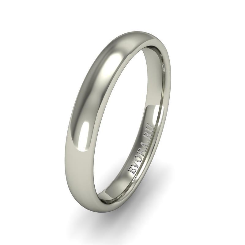 Кольцо обручальное классическое 750 пробы шириной 3 мм из белого золота W537W