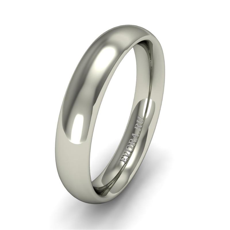 Кольцо обручальное классическое 750 пробы шириной 4 мм. из белого золота W647W