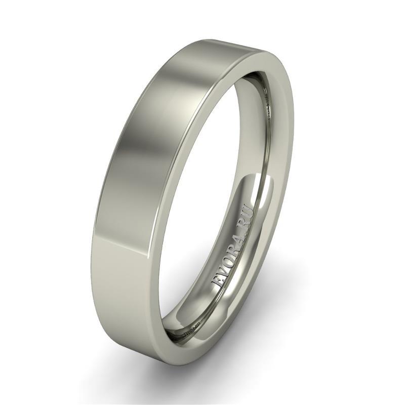 Кольцо обручальное классическое 750 пробы шириной 4 мм. из белого золота W747W