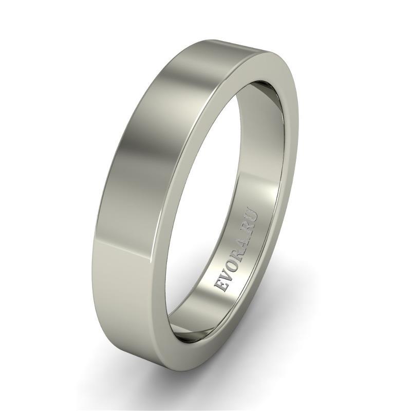 Кольцо обручальное классическое 750 пробы шириной 4 мм из белого золота W147W