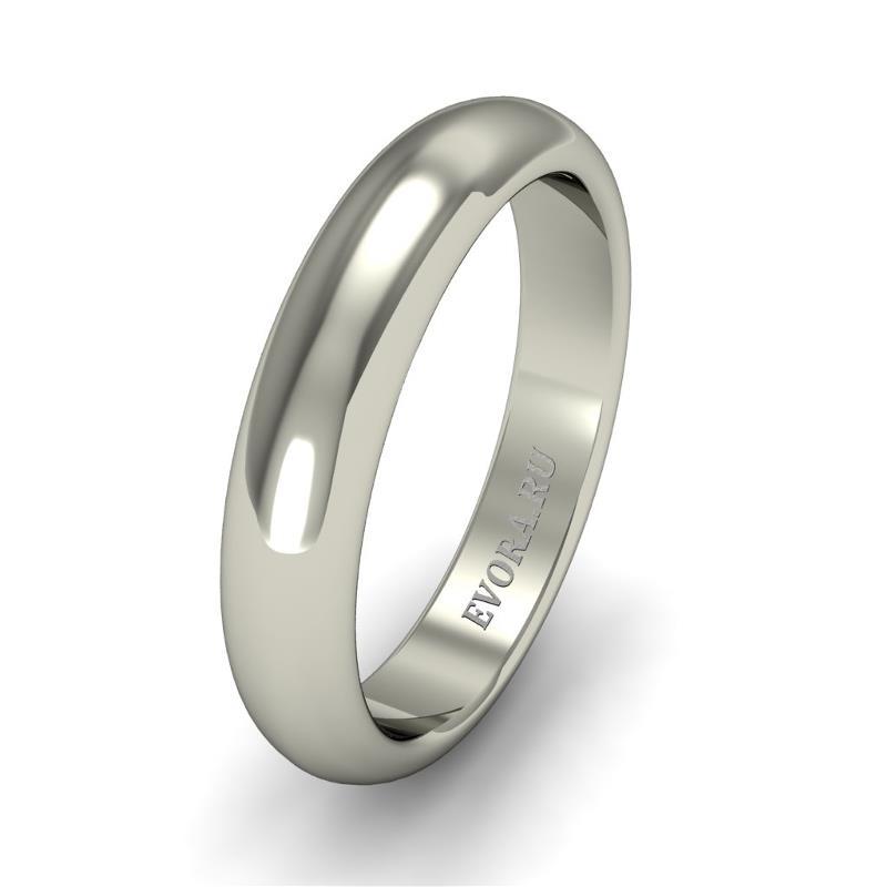 Кольцо обручальное классическое 750 пробы шириной 4 мм из белого золота W247W