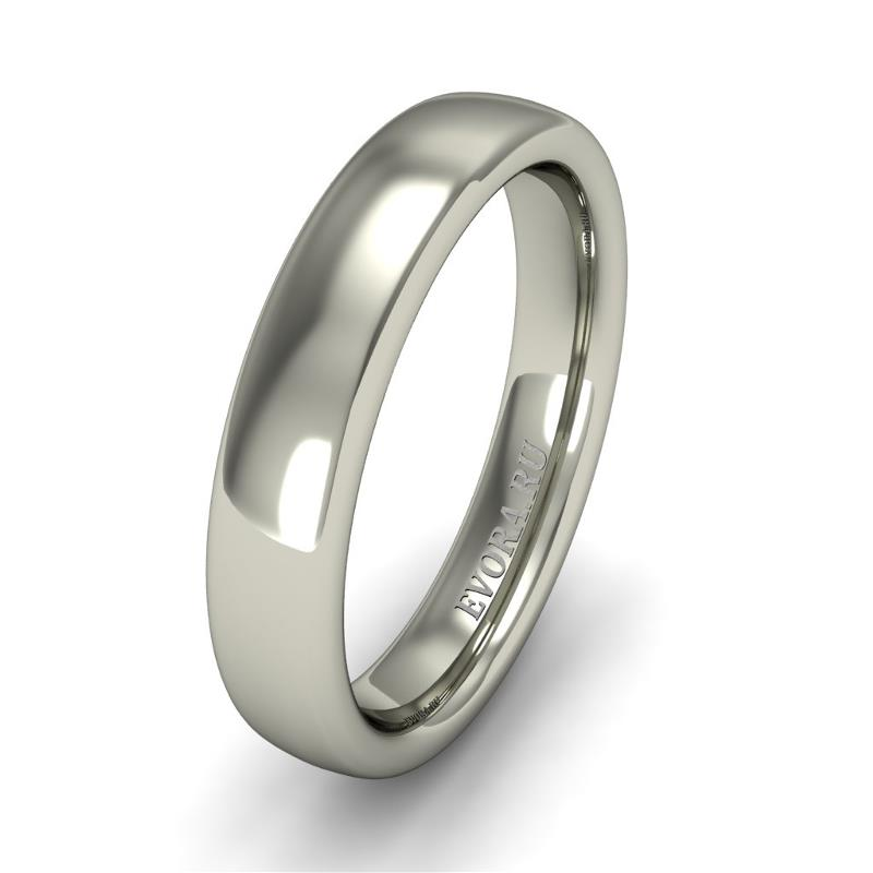 Кольцо обручальное классическое 750 пробы шириной 4 мм из белого золота W347W