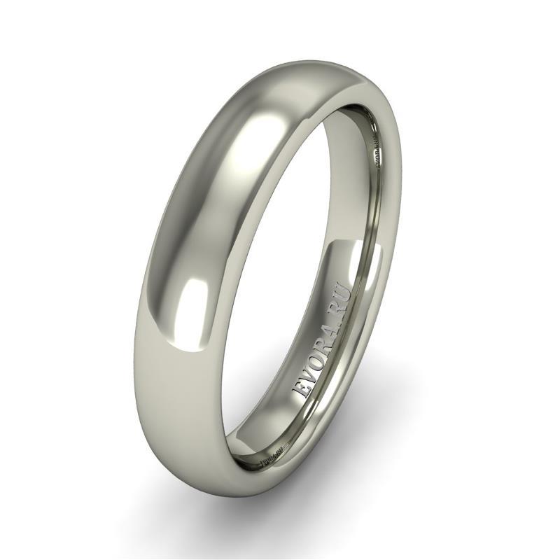 Кольцо обручальное классическое 750 пробы шириной 4 мм из белого золота W547W