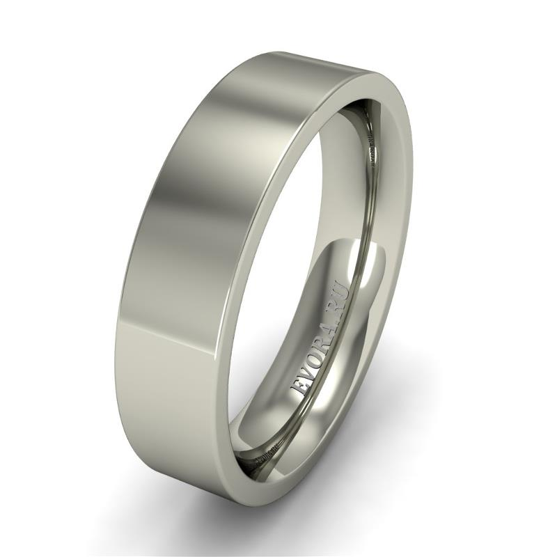 Кольцо обручальное классическое 750 пробы шириной 5 мм. из белого золота W757W