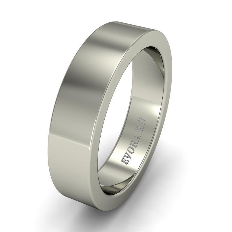 Кольцо обручальное классическое 750 пробы шириной 5 мм из белого золота W157W