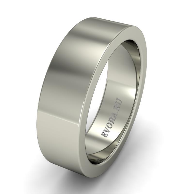 Кольцо обручальное классическое 750 пробы шириной 6 мм из белого золота W167W