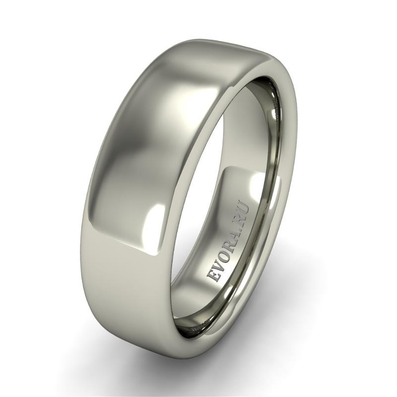 Кольцо обручальное классическое 750 пробы шириной 6 мм из белого золота W367W