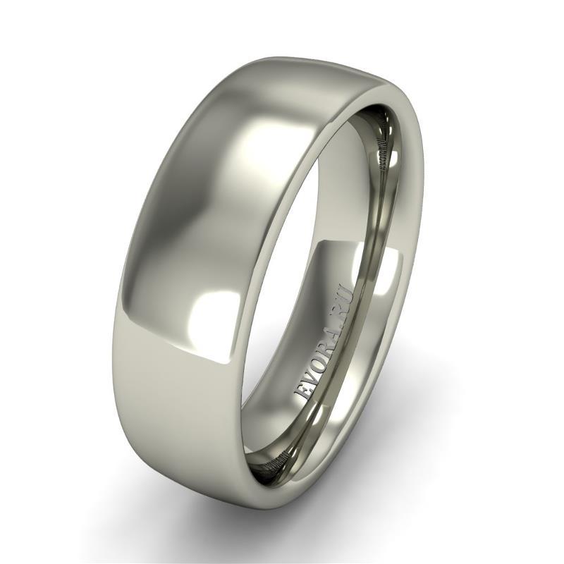 Кольцо обручальное классическое 750 пробы шириной 6 мм из белого золота W467W