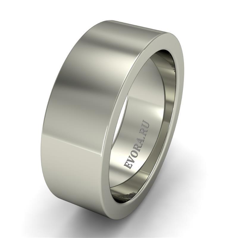 Кольцо обручальное классическое 750 пробы шириной 7 мм из белого золота W177W