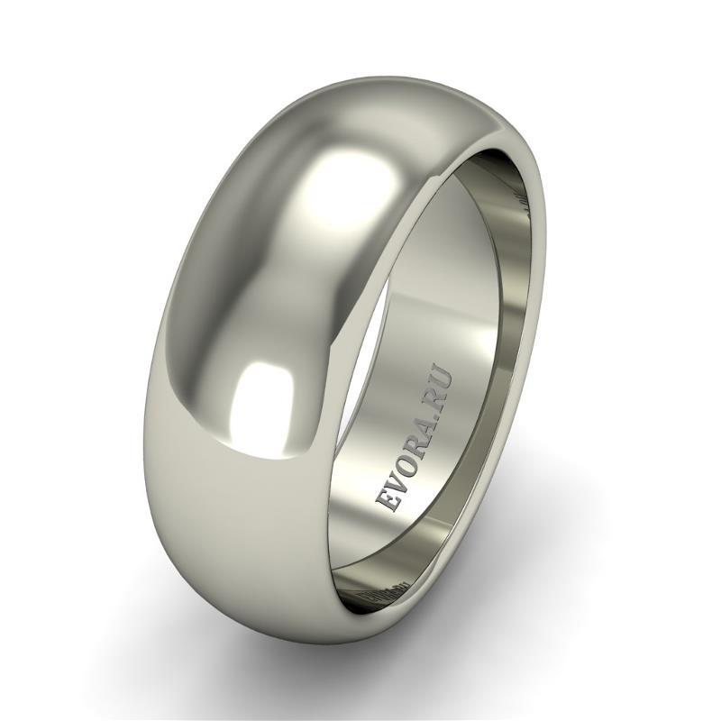 Кольцо обручальное классическое 750 пробы шириной 7 мм из белого золота W277W