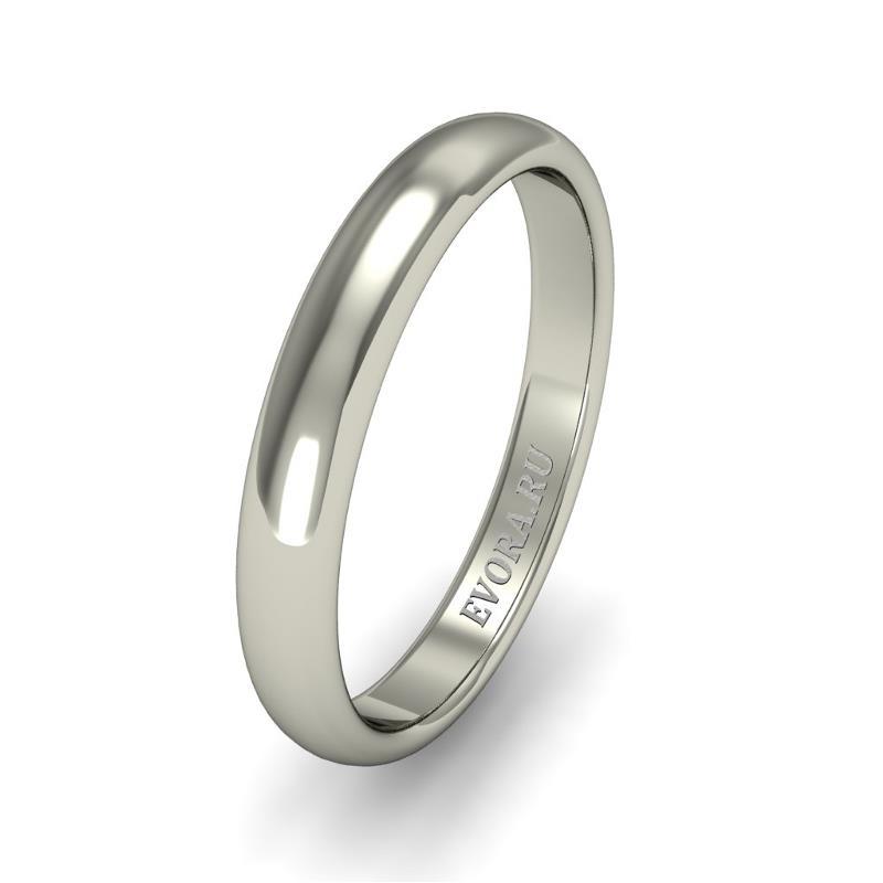 Кольцо обручальное классическое шириной 3 мм. из белого золота W235W