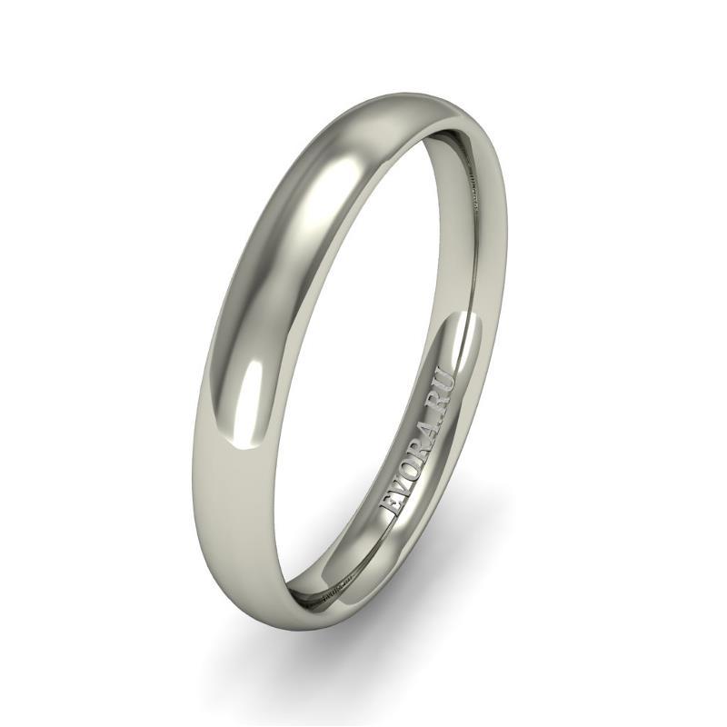 Кольцо обручальное классическое шириной 3 мм. из белого золота W635W