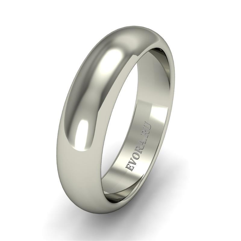 Кольцо обручальное классическое шириной 5 мм. из белого золота W255W