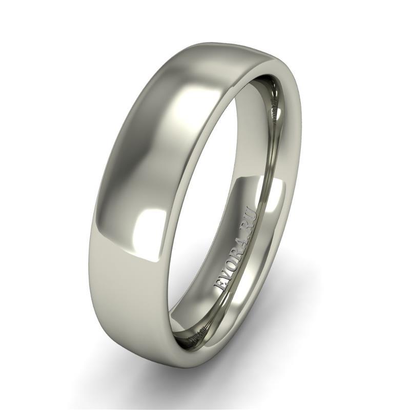 Кольцо обручальное классическое шириной 5 мм. из белого золота W455W