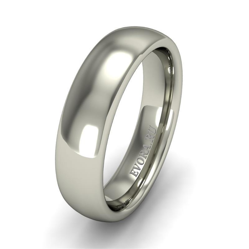 Кольцо обручальное классическое шириной 5 мм. из белого золота W555W