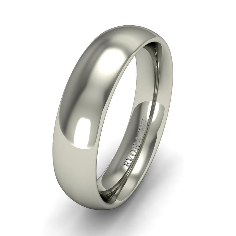 Кольцо обручальное классическое шириной 5 мм. из белого золота W655W