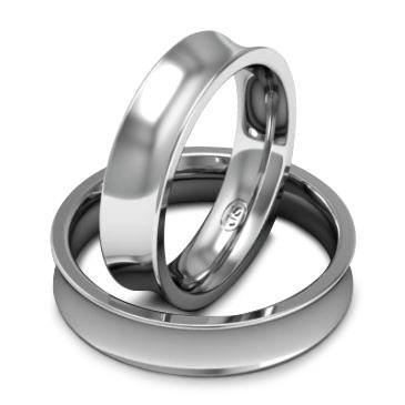 Кольцо обручальное классическое шириной 5 мм. из белого золота W855W