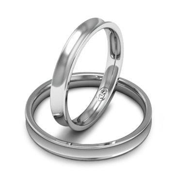 Вогнутое обручальное кольцо шириной 3 мм. из белого золота W837W