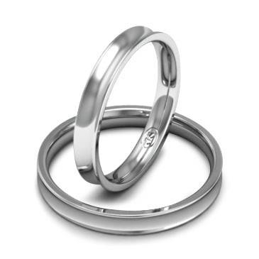 Вогнутое обручальное кольцо шириной 3 мм. из белого золота W835W