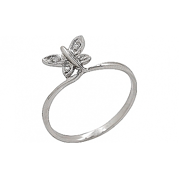Кольцо бабочка с бриллиантами из белого золота 69771