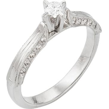 кольцо c бриллиантами из белого золота 13033049-1