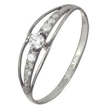 кольцо c бриллиантами из белого золота 13038365