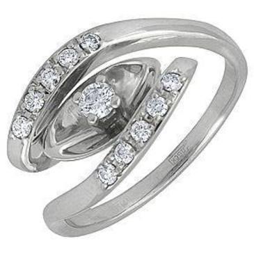 кольцо c бриллиантами из белого золота 13031860