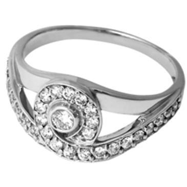 кольцо c бриллиантами из белого золота 13037656