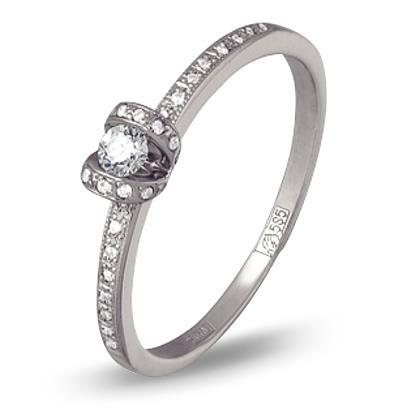 кольцо c бриллиантами из белого золота 13034431