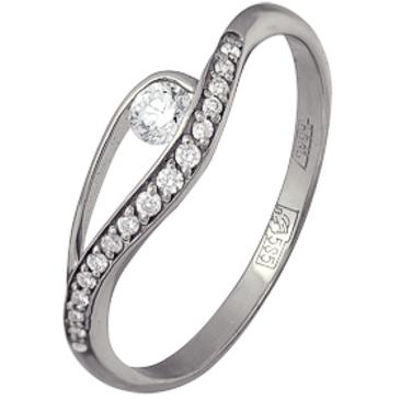 кольцо c бриллиантами из белого золота 13034467