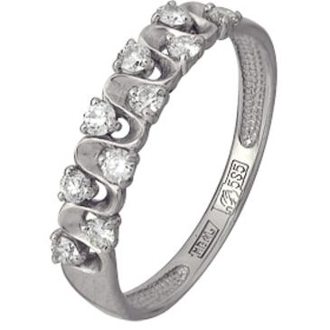 кольцо c бриллиантами из белого золота 13038375