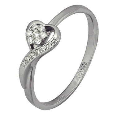 кольцо c бриллиантами из белого золота 13034341