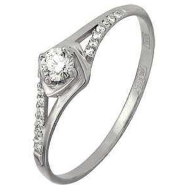 кольцо c бриллиантами из белого золота 13034260